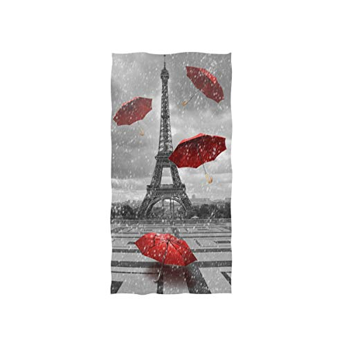 Naanle Paris Eiffel Tower Red Umbrella in Rain Oil Painting France European City Landscape Modern Art Soft Bath Towel Absorbent Hand Towels Multipurpose for Bathroom Hotel Gym and Spa 30