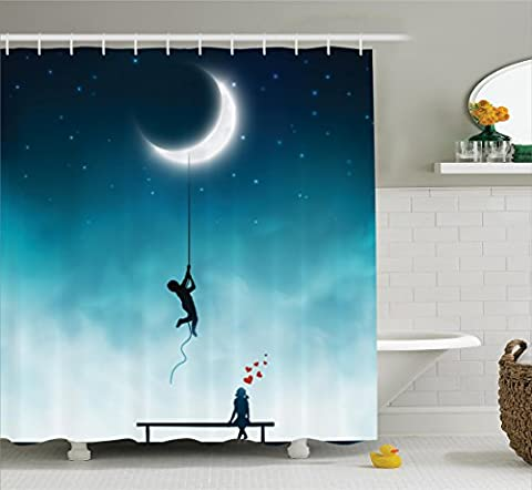 Inspirational Shower Curtain House Decor by Ambesonne, Boy Climbing To The Moon With Rope Girl Sitting On A Bench In Love Fantasy Artwork, Fabric Bathroom Shower Curtain Set with Hooks, Teal - Sitting Girl