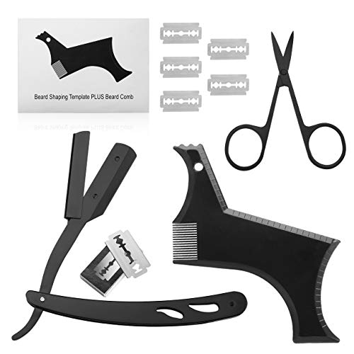 Housmile Beard Retouching Kit, Men's Professional Premium Beard Kit Includes Exquisite Beard Styling Templates, Straight Edged Razors, 5 Sharp Double Edged Blades, Black Stainless Steel Scissors