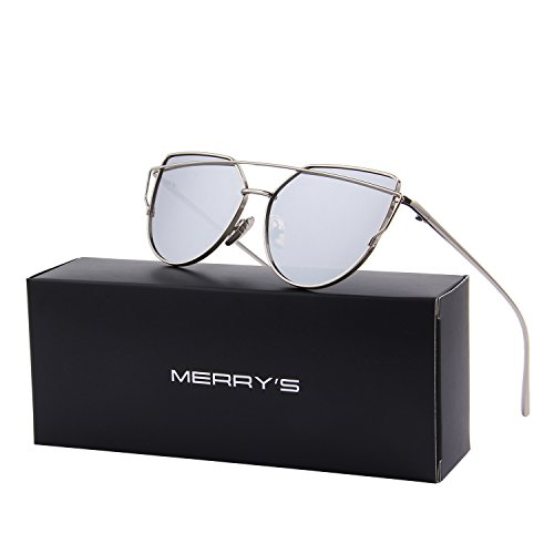 MERRY'S Brand Designer Candy Women's Fashion Sunglasses UV Protection Sexy Eyewear UV400 Goggles S7882 (Silver, 56)