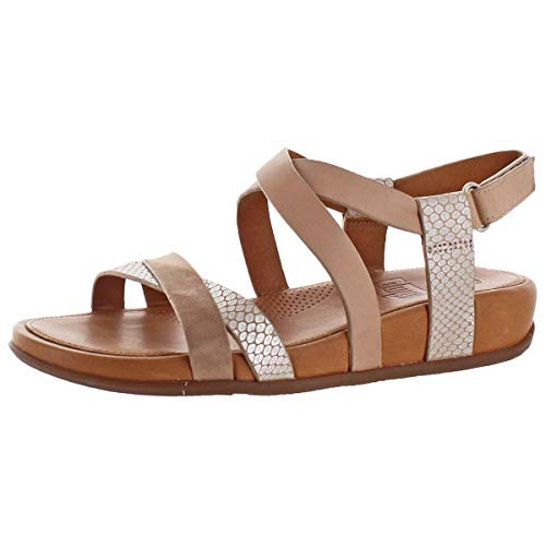 (FitFlop Womens Lumy Criss Cross Sandal Shoes, Peachy/Silver Snake, US 8)
