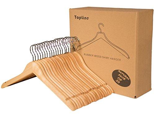 Topline Classic Wood Shirt Hangers 20 Pack Natural