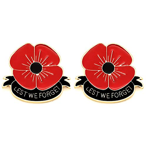 Remember Memorial Day Gifts, 2PCS Set Flower Red Black Poppy Brooch Pin Lest We Forget Enamel Lapel Pin