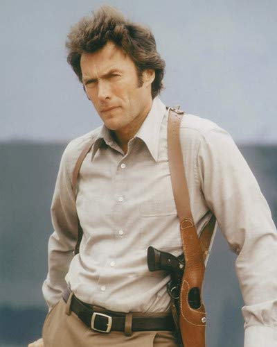 Clint Eastwood in Dirty Harry Iconic Portrait with Gun Holster Smith & Wesson 44 Magnum 11x14 HD Aluminum Wall Art