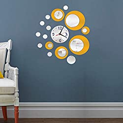 HOODDEAL Acrylic Clock and Mirror Style Removable Decal Vinyl Art Wall Sticker Home Decor (Silver Yellow)