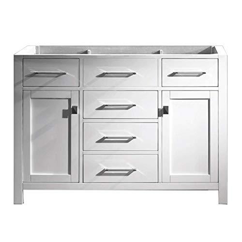 Virtu USA Caroline 48 inch Single Sink Bathroom Vanity Cabinet in White - Vanities With At Depot Tops Bathroom And Mirrors Home