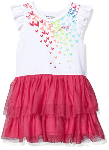 Juicy Couture Girls' Toddler Dress, White/hot Pink 3T