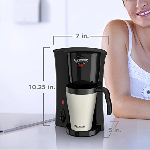BLACK+DECKER Brew 'n Go Personal Coffeemaker with Travel Mug, Black/White, DCM18
