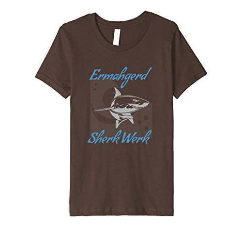 unisex-child Funny Shark T Shirt Ermahgerd Sherk Werk 10 Brown