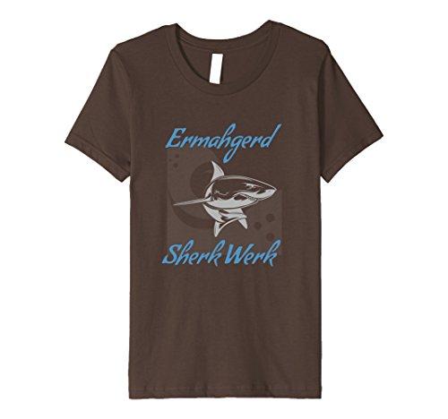 unisex-child Funny Shark T Shirt Ermahgerd Sherk Werk 10 Brown