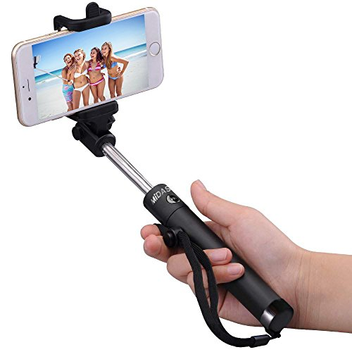 selfie stick bluetooth selfie stick by midastick with built in bluetooth remote shutter for. Black Bedroom Furniture Sets. Home Design Ideas