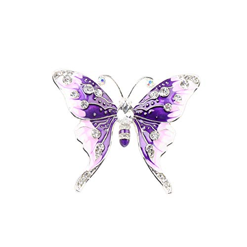 Dress Brooch Butterfly (FEELMEM Crystal Rhinestone Butterfly Brooch Pin Blue Color Butterfly Brooches for for Women Girls Wedding/Banquet/Birthday Party (Purple))