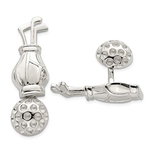 - 925 Sterling Silver Men's Reversible Golf Clubs andball Cuff Links