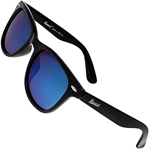 Rivacci Men Women Wayfarer Black Frame / Blue Mirror Lens Classic Retro Polarized (Occhiali da sole)