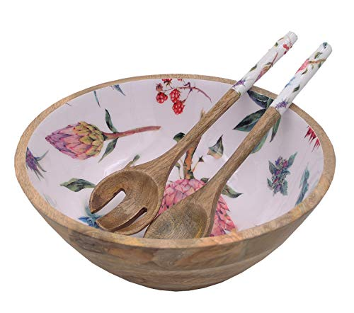 Wooden Large Mixing and Serving Bowl Set with 2 Servers, for Salad, Fruits, Pasta and Vegetable - 12