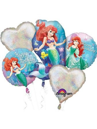 Little Mermaid Balloons - Ariel Balloon Bouquet - 5 Balloons]()