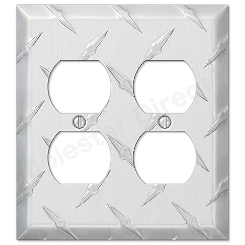 Diamond Plate Aluminum Wall Switch Plate Outlet Cover Toggle Rocker GFI Garage (Power Outlet-Duplex Double) ()