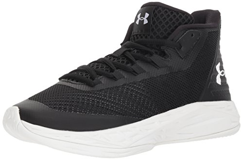 Under Armour Women's Jet Mid Basketball Shoe, Black (002)/White, 8
