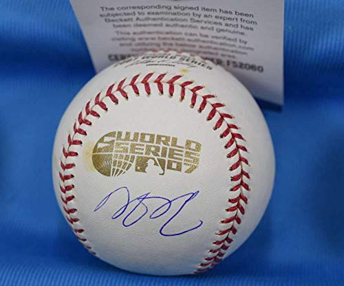 DUSTIN PEDROIA BAS Beckett Autograph 2007 World Series Hand Signed Baseball