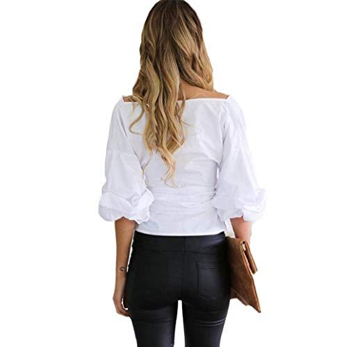 Printemps Manches Costume Uni Manche Chic Off Longues Shirts Blanc Et Blouse Mode Femme Haut Shoulder Baggy Chemisiers Elgante Jeune Carmen Bandage IxOq5O1