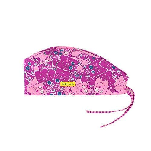 DOKTORAM Surgical Scrub Cap Medical hat Funny Prints Skull Cap (Cats  purpule) 8535c5609a2