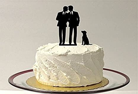 Awesome GAY WEDDING CAKE TOPPER With Pet Dog, Gay Silhouette Cake Topper With Dog,  Gay