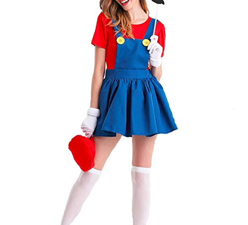 (Mitef Super Mario Luigi Brothers Cosplay Skirt Costume for Adult, Red,)