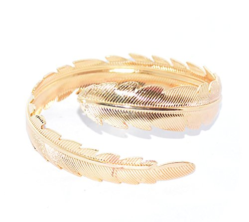 Women Metal Feather Leaf Bracelet Armband Bangle Bridal Upper Arm Cuff Armlet Gypsy Boho Armband (Gold) (Boho Upper Arm Cuff)