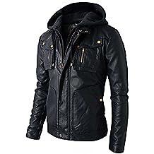 RealSkin New Men's Motorcycle Brando Style Biker Real Leather Hoodie Jacket - Detach Hood