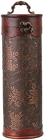 CUHAWUDBA Cilindro Vintage Retro Madera Vintage Botella de Vino Almacenamiento Caja de Regalo Caja Titular