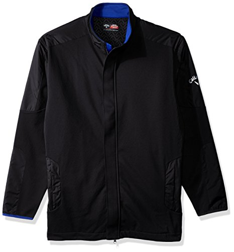 Callaway Men's Big & Tall Opti-Therm Long Sleeve Wind & Water-Resistant Soft Shell Jacket, XLT, Caviar
