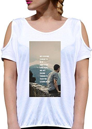 T SHIRT JODE GIRL GGG27 Z1893 FUTURE PEOPLE DEEP THOUGHTS FUN FASHION COOL BIANCA - WHITE S