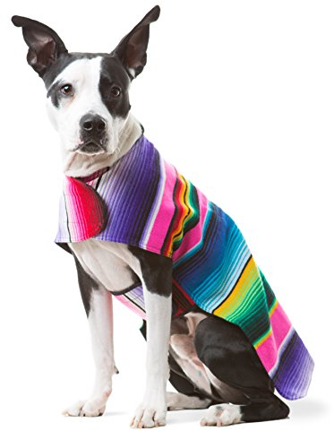 Baja Ponchos Dog Clothes - Handmade Dog Poncho from Authentic Mexican Blanket (Pink No Fringe, Large) ()