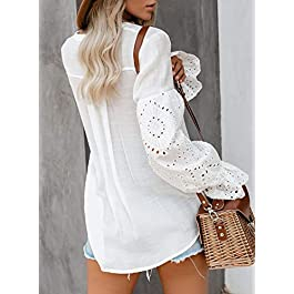 CANIKAT Women's V Neck Lace Crochet Flowy Bell Sleeve Button Down Casual T Shirts Blouses Tops