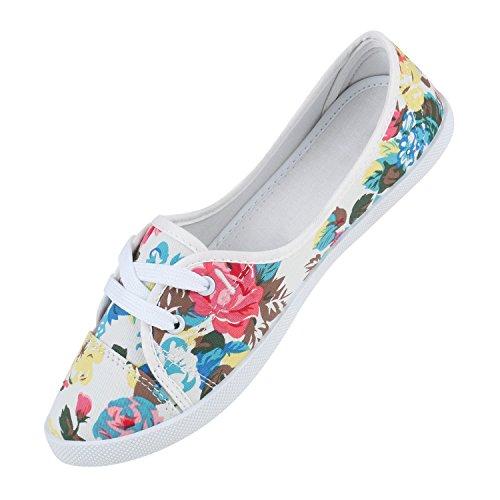 Sportliche Sneakers Damen Ballerinas Denim Stoffschuhe Schnürer Schuhe Halbschuhe Muster Lochung Flats Camouflage Spitze Flandell Weiss Muster