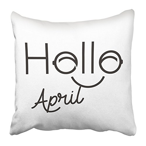 Emvency Decorative Throw Pillow Covers Cases Drawing Hello Lettering Calligraphy Smile Typographic April Modern Quote O Letter 16x16 inches Pillowcases Case Cover Cushion Two Sided ()