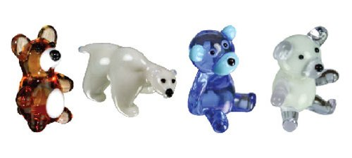 Collectible Teddy Bear Figurine - Looking Glass Miniature Collectible - Bears (4-Pack)