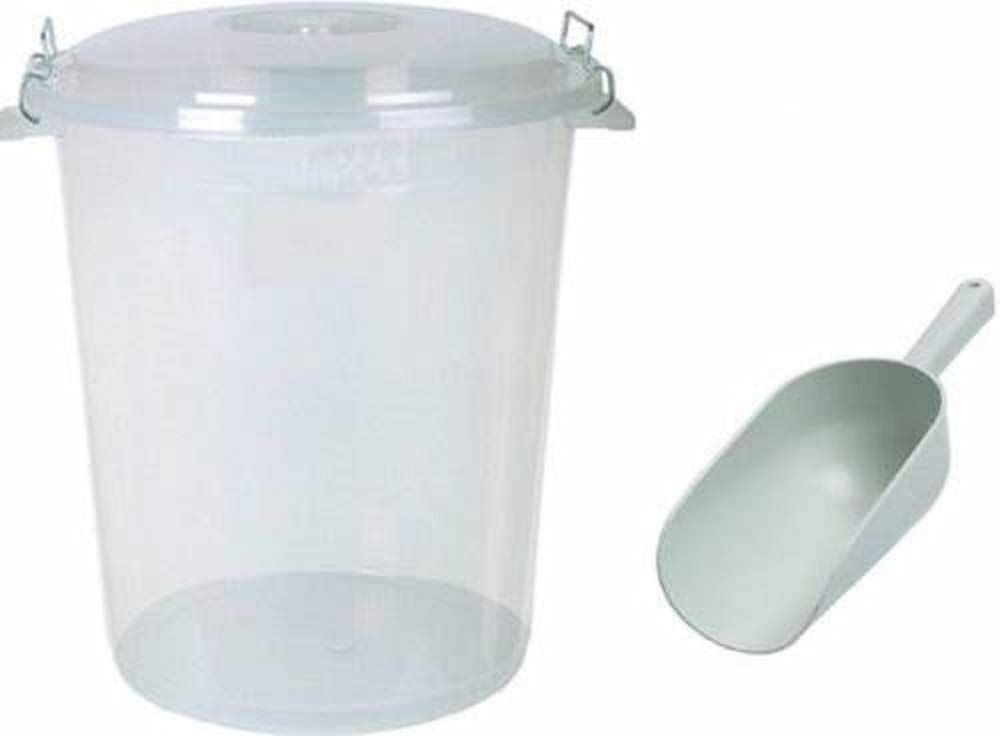 S&MC Gardenware Large 70L Litre CLEAR Plastic Bin Pet Food Animal Feed Bird Seed Storage + SCOOP