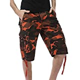 Photno Men Cargo Shorts Big and Tall Camouflage Loose Fit Athletic Twill Straight Multi-Pocket Pants Size 29-40