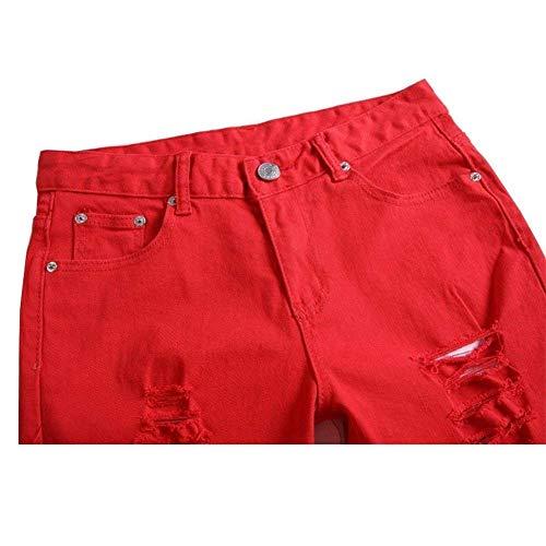 Fashion Casuales Ripped Slim Sólido Biker Color Cargo Fit Mezclilla Pantalones Skinny Hombres Slim Vintage Casual Jeans Pantalones Los De Jeans Rot06 De Pantalones x778wYqr