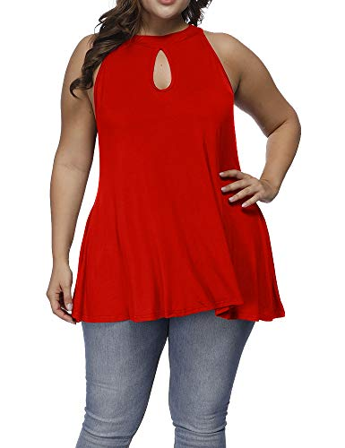 Allegrace Women's Plus Size Keyhole Sleeveless Cami Shirts Button Closure Flowy Tank Top Red 4X