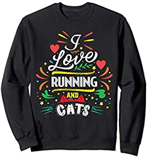 Running shirts I Love Running And Cat Image Sweatshirt T-shirt | Size S - 5XL