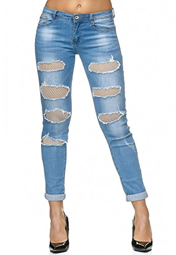 Jeans ora Stretch se D2236 desgarrados ArizonaShopping Pants Pantalones Bleu Out Cut qxZAwHnfdH
