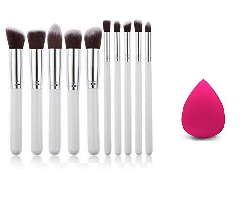 KYLIE Professional Full Makeup Brush Face and Eye Cosmetic -Set Pack of 10Pieces (white) WITH SPONGE PUFF