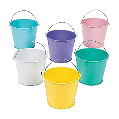 Fun Express Tinplate Pastel Color Pails (Set of 12) Party Supplies: Toys & Games