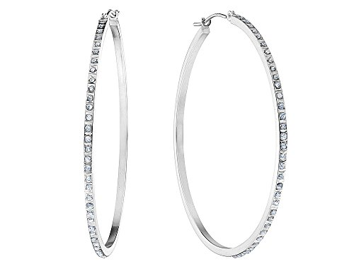Large Hoop Earrings in 14K White Gold (1 3/4 Inch) with Diamond Accents from Gem And Harmony