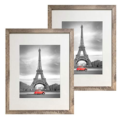 Art Emotion Rustic Oak Style Picture Frame, 2MM Reinforced Glass, Light Oak Finish 16x20 Frame for 11x14 Photos (16x20 Without MAT), Hangers Included for Horizontal or Vertical Hanging, Pack of - Oak Light Frame 2