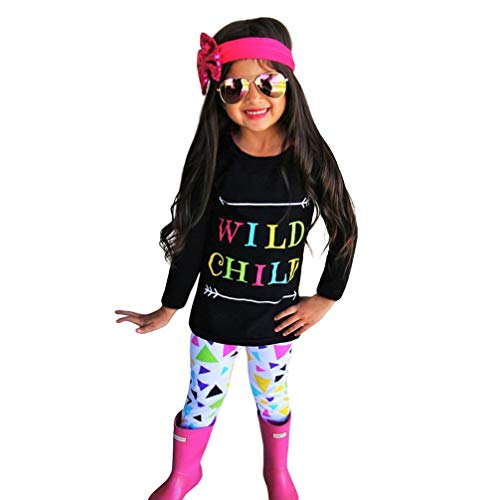 Baby Toddler Girls Kids Fall Winter Clothes Outfit Set 2-6 Years Old,3Pcs Letter Print Tops Shirt Pants Heabands (3-4 Years Old, Black -1)