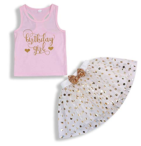 Toddler Kids Baby Girls Outfits Birthday Princess Vest Sleeveless Top +Dot Bubble Skirt 2PCS Summer Clothes Set (Gift, 6-7 Years)]()