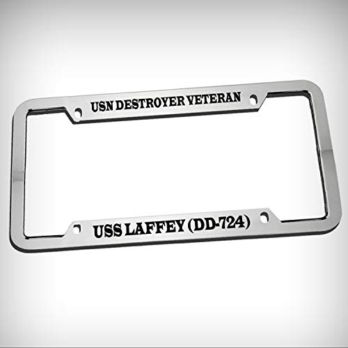 USN Destroyer Veteran USS Laffey (Dd-724) Zinc Metal Tag Holder Car Auto Novelty License Plate Frame Decorative Border - Chrome \ Silver Color Sign for Home Garage Office Decor